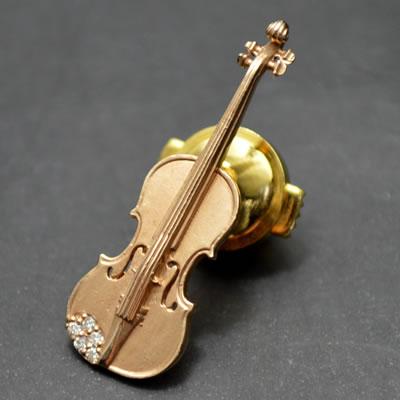 【ジュエリー/ダイヤモンド/ピンブローチ】K18WG ダイヤモンドピンブローチ(バイオリン) D/0.03カラット