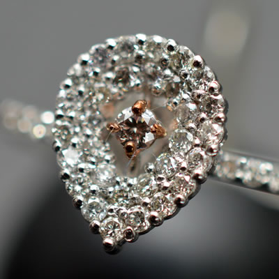 【ジュエリー/ナチュラルピンクダイヤモンド/指輪】PT950 K18PGナチュラルピンクダイヤモンドリング D/0.20カラット