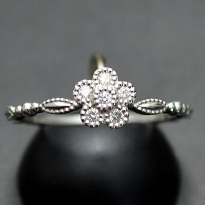 【ジュエリー/ダイヤモンド/指輪】K18WGダイヤモンドリング D/0.07カラット