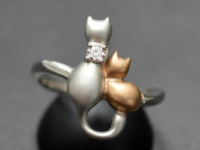 【ジュエリー/ダイヤモンド/指輪】PT K18PG ダイヤモンドリング D/0.06カラット