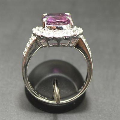 【ジュエリー/パープルサファイヤ/ダイヤモンド/指輪】PT パープルサファイヤリング PS/4.045カラット D/0.90カラット