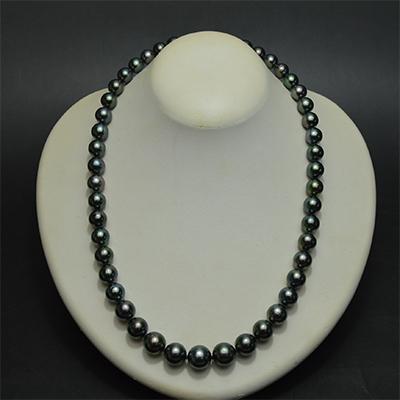 【ジュエリー/真珠/ネックレス】タヒチブラックパール(ピーコックグリーン)ネックレス 8〜10mm