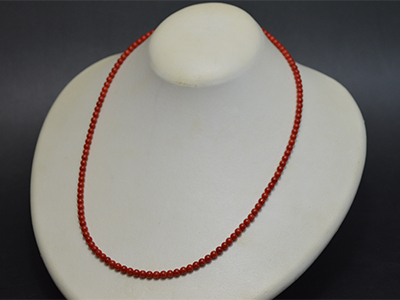 【ジュエリー/サンゴ/ネックレス】紅珊瑚ネックレス 3.5mm/43cm