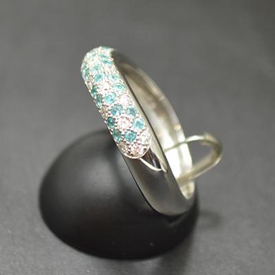 【ジュエリー/パライバ/ダイヤモンド/指輪】PT パライバダイヤモンドパヴェリング P/0.24カラット D/0.16カラット