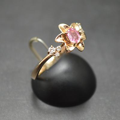 【ジュエリー/パパラチアサファイア/ダイヤモンド/指輪】K18PG パパラチアサファイアダイヤモンドリング P/0.245カラット D/0.08カラット