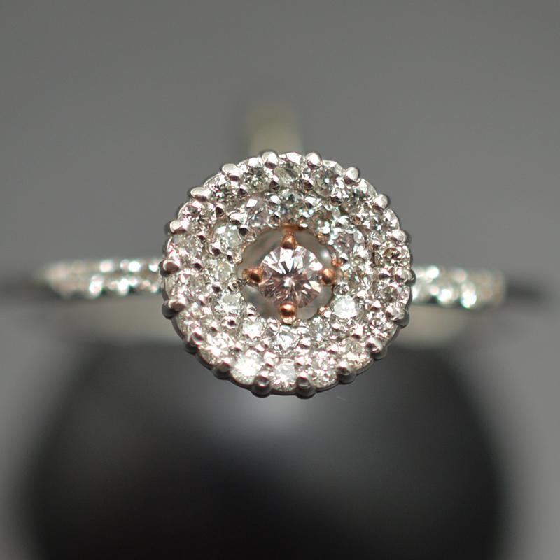 【ジュエリー/ナチュラルピンクダイヤモンド/指輪】PT950 K18PGナチュラルピンクダイヤモンドリング D/0.21カラット