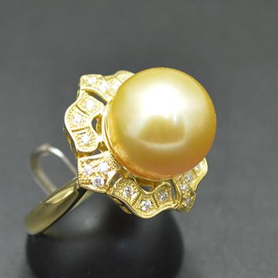 【ジュエリー/ゴールデンパール/指輪】K18ゴールデンパールリング D/0.17カラット