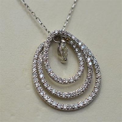 【ジュエリー/ダイヤモンド】PTダイヤモンドペンダントネックレス D/0.87カラット