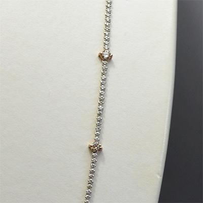 【ジュエリー/ダイヤモンド/ネックレス】PT K18PG ダイヤモンドロングネックレス D/7.50カラット