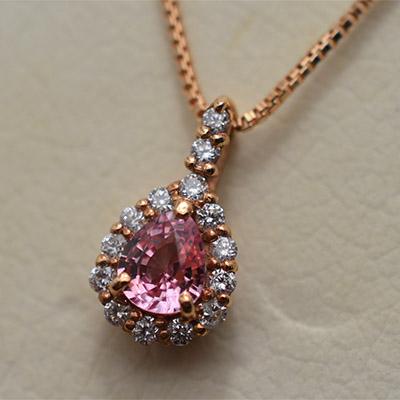 【ジュエリー/ダイヤモンド/ネックレス】K18PGパパラチアサファイアペンダントネックレス P/0.213カラット D/0.06カラット