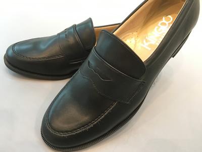 やわらかいローファーST7189(足幅細めタイプ)合成皮革:靴のキング堂オリジナル通学靴 ブラック/23.5cm