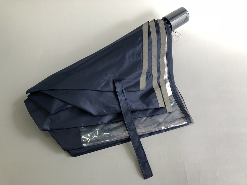 通園・通学用 折りたたみ傘(収納袋付き) 窓付きネイビー/50cm
