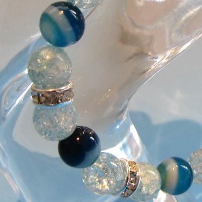 【アクセサリー】Luabrancaブレスレット ブル-オニキス×クラック水晶(ブルー)