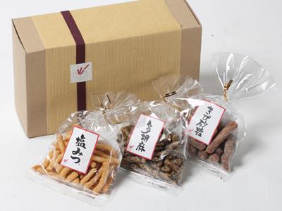 【ギフト】かりんとう小袋3種詰合せ『HAPPY 3』 各50g×3袋