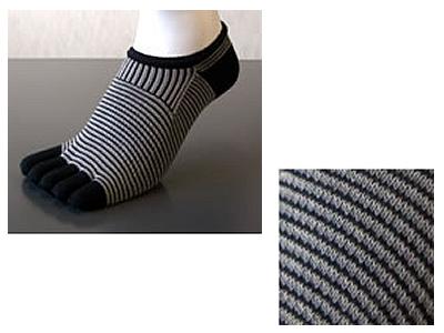 【メンズ】5本指靴下 SNICK−スニック− ボーダー 25〜27cm/ブラック×グレー